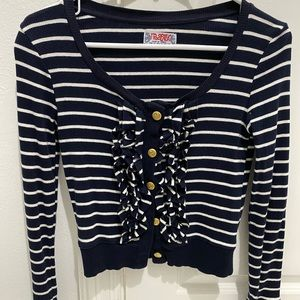 Navy Stripe Gold Button Cardigan Sweater